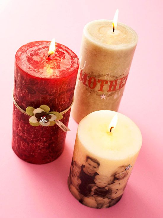Great Mother's Day Gift Idea - Candles with Photos - Super Easy To Create!