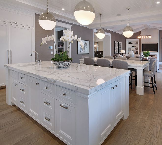 Kitchen island design. Countertop is Statuario Marble. Hardware is Restoration Hardware, Strande Pull & Knob. Kitchen island design. Statuario Marble. Countertop is Statuario Marble. Kitchen island design #Kitchenislanddesign #StatuarioMarble Brandon Architects, Inc