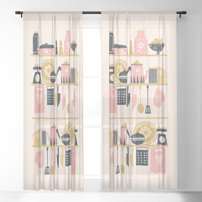 Colorful Cooking In A Mid Century Scandinavian Kitchen Sheer Curtain By Little Bunny Sunshine In 2020 Scandinavian Kitchen Mid Century Scandinavian Top Kitchen Designs