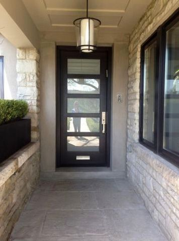 Modern Entry Door With Frosted Glass And Mail Slot 64