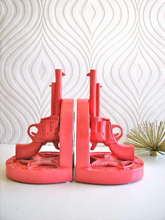 Set of 2 Gun Book Ends in salmon by mahzerandvee on Etsy, $26.00