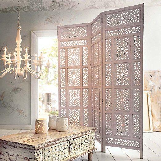 """Paravent """"Marokko"""" aus Holz, Weiß"""