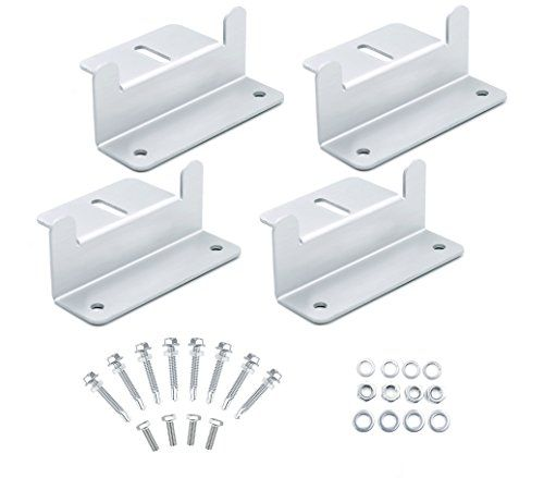 Solar Panel Roof Mounting Z-Bracket, Solar Panel Hardware with Nuts, Bolts and Washers for RV, Boat, Roof, Wall and Other Off Gird Roof Installation, Support Solar Panels Up to 150W, Set of 4 Units  [Wide-Application] The XOOL Mounting Z-Brackets Kit makes it easy to mount solar panels to recreational vehicles (RV's), boats, motorhome, cabins or anywhere else where you need a simple yet reliable method to mount solar panels. This kit is deal for mounting solar panels 50W to 150W solar ...