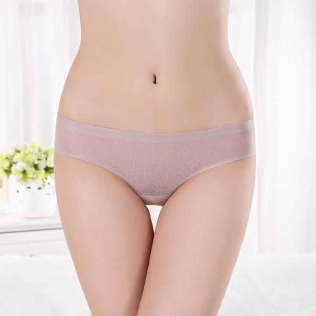 Hot Women Invisible Underwear Briefs Thong Ice Silk Seamless Crotch BK XL