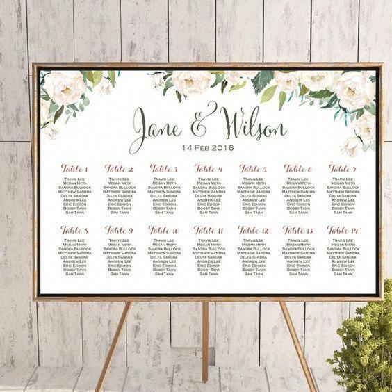 BENUTZERDEFINIERTE Elfenbein White Floral Hochzeit Sitzplan TH61   – Wedding Centerpiece Ideas