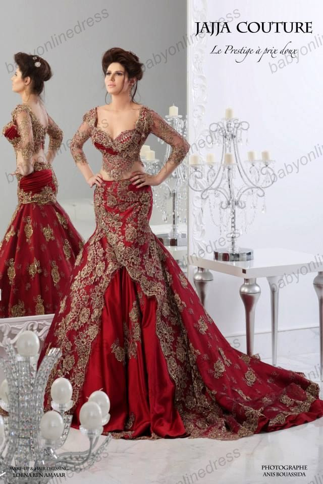 Buy 2014 lux New style Mermaid Arabic Pageant dress Sweetheart Backless Long Sleeves V Neck Lace two pieces red gold Evening Dress