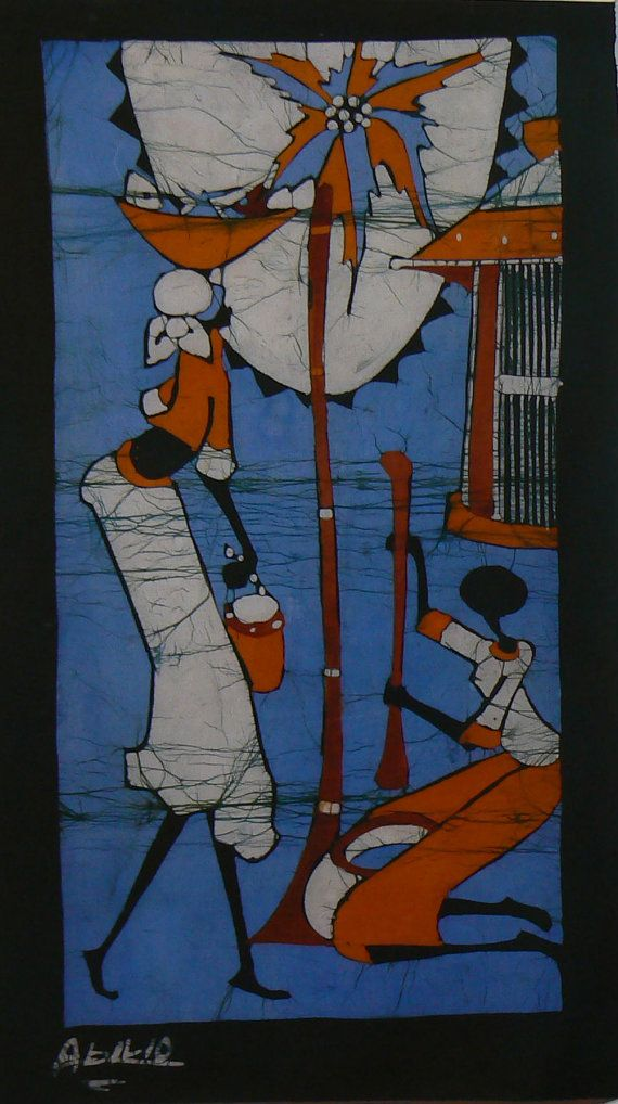 Batik Art Panel from South Africa South by Studio55Creations