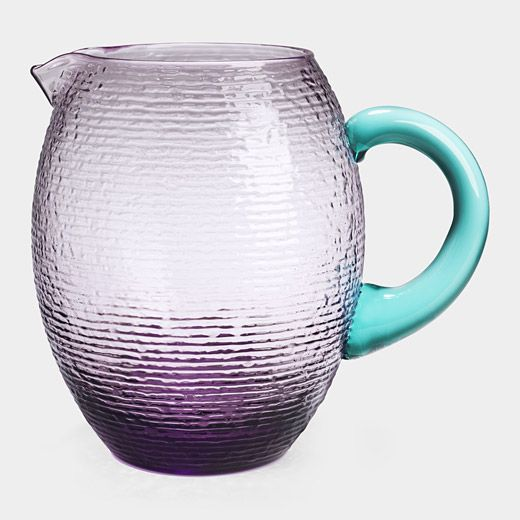 Love this...Mouth blown amethyst glass pitcher with teal handle, by Alberti and Piccioli.