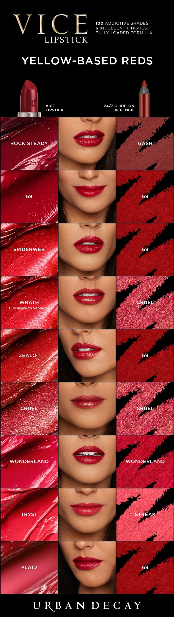 We're all about bold red lips. Find your perfect shade of Vice Lipstick for the holiday season now at urbandecay.com.