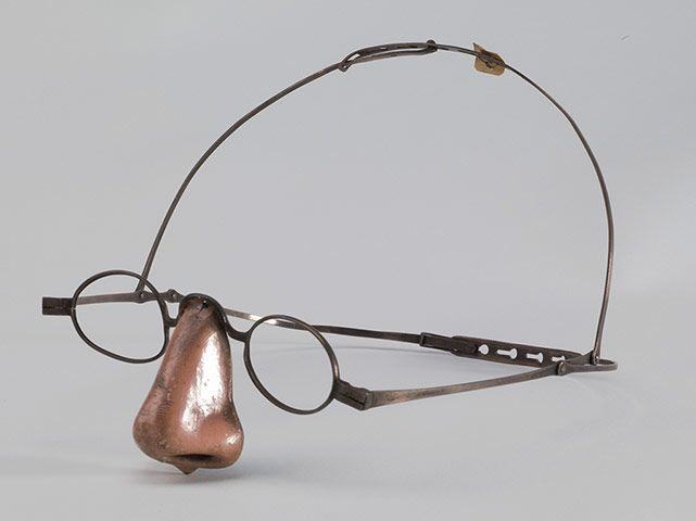 A silver prosthetic nose from the mid-19th century. Disease often caused the destruction of the nose. This one was worn by a woman who had lost hers.