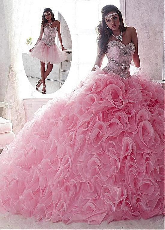 Marvelous 2 In 1 Lace & Organza Sweetheart Neckline Ball Gown Quinceanera Dresses With Sequins & Beadings & Rhinestones
