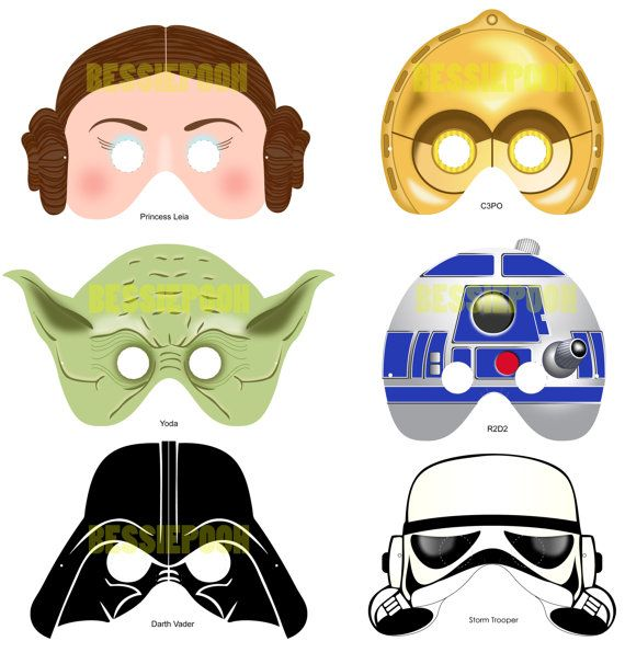Star Wars Mask Ideas: dress in golden, black, white, or a brown cape, and you'll have a nice last-minute costume... Leah and R2D2 are a bit more difficult, though.