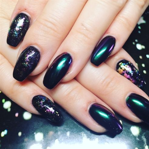 Chrome Nails With Rainbow Foil | nails in 2019 | Nails ...