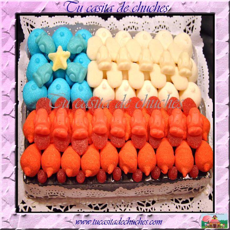 Tarta de chuches bandera de Chile. Disponible en www.tucasitadechuches.com Posibilidad de personalizar y adaptar tamaño a número de invitados.