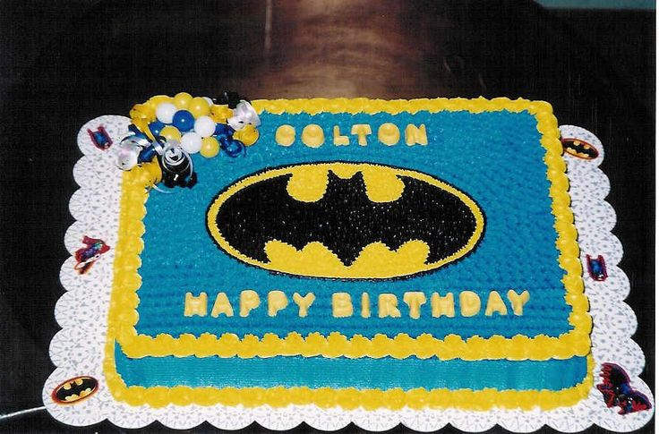 Batman - Batman logo drawn on sheet cake. Decorated in ...
