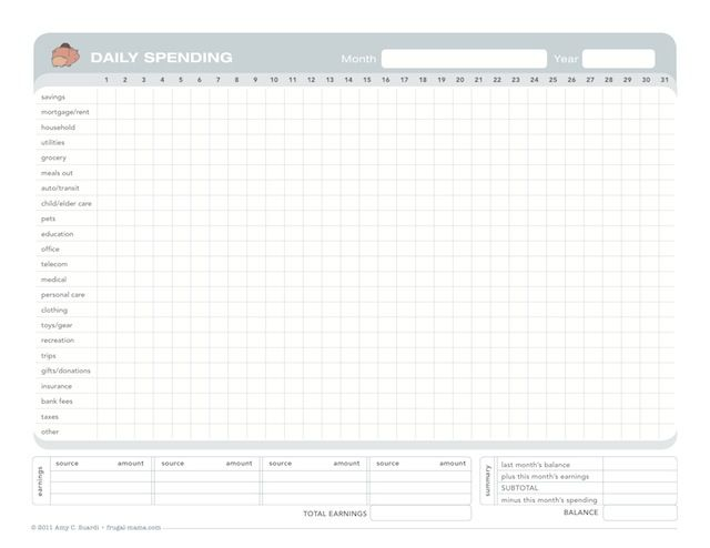 free printable table for tracking spending and monthly