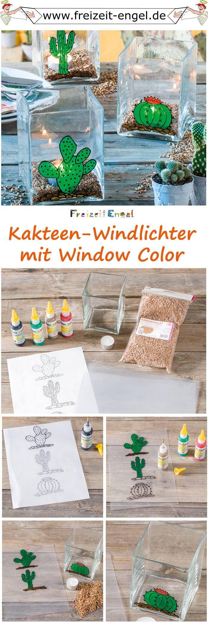 """Kakteen-Windlichter mit Window Color -  (Idee mit Anleitung – Klick auf """"Besuchen""""!)"""
