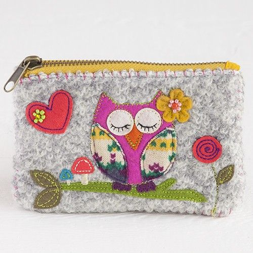 Inspired by vintage handmade bags, our gray owl wool sweater coin purse has colorful felt applique,beads, zipper closure, and plaid knit lining inside.