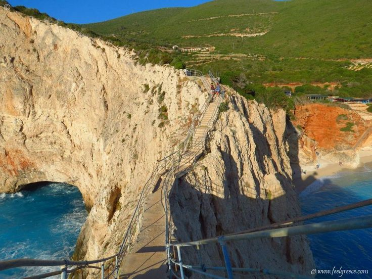 The fearful stairs above Porto Katsiki - so scared to look down!