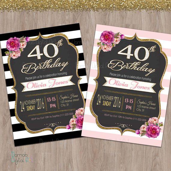 40th birthday invitation women 40th birthday by DamabDigital