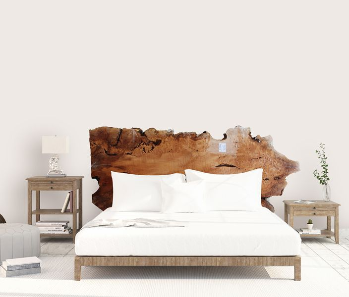 Big Leaf Maple Queen Size Headboard Natural Live Edge Raw Wood Slab Wooden Custum Rustic Chic Wood Headboard Bedroom Wood Furniture Diy Bed Frame And Headboard