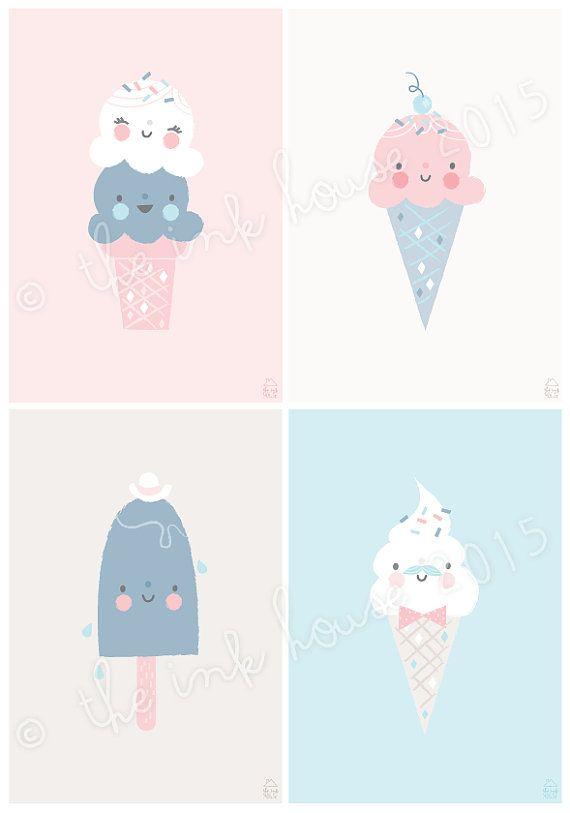 A4 impresión de helado helado Ilustración lámina por TheInkHouse