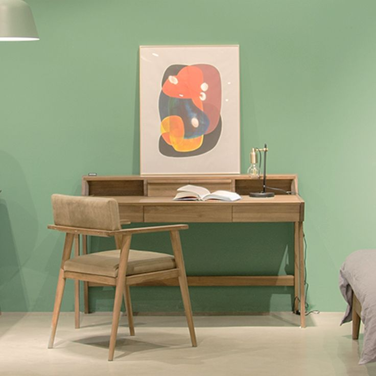 Working place idea, writing desk and vintage chair from wooden teak