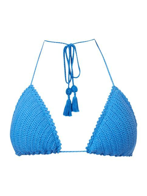 Bikini-Oberteil mit handgestricktem Besatz Blau / Türkis - 1