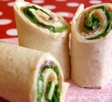 Recette - Wraps de saumon fumé, Saint Moret et Salade verte - Notée 4/5 par les internautes