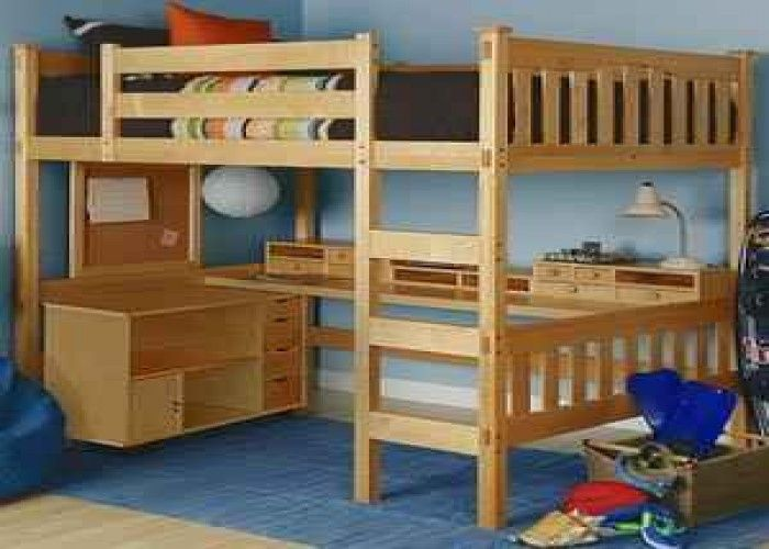 Desk bunk bed combo full size loft bed w desk underneath for Queen bunk bed with desk
