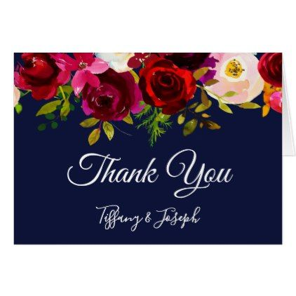 Burgundy Elegant Floral Navy Wedding Thank You Card - cyo diy customize unique design gift idea