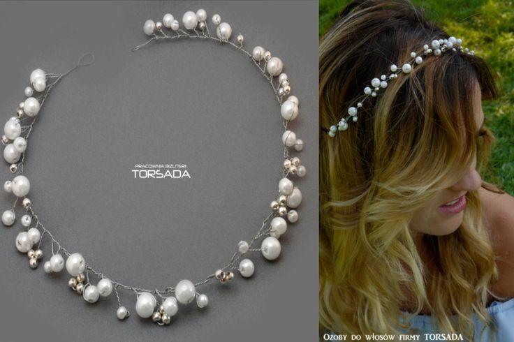 Opaska gałązka do włosów z perłami gałązka marki TORSADA