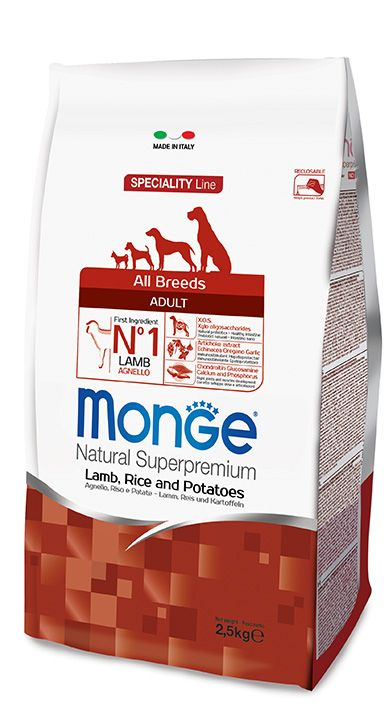 ALL BREEDS ADULT LAMB, RICE AND POTATOES Kibbles Monge Natural Superpremium Speciality Line Adult with Lamb, Rice and Potatoes are a complete and balanced food for all breeds adult dogs that require highly digestible foods.