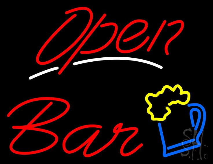 Open Bar Neon Sign 24 Tall x 31 Wide x 3 Deep, is 100% Handcrafted with Real Glass Tube Neon Sign. !!! Made in USA !!!  Colors on the sign are Yellow, Blue, White and Red. Open Bar Neon Sign is high impact, eye catching, real glass tube neon sign. This characteristic glow can attract customers like nothing else, virtually burning your identity into the minds of potential and future customers. Open Bar Neon Sign can be left on 24 hours a day, seven days a week, 365 days a year...for decades…