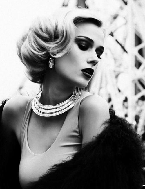 Beautiful close up shot - vintage hair. Add some simpler vintage makeup and a similar necklace, similar blouse