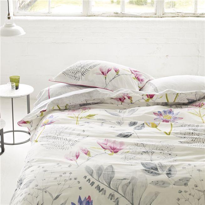 Mokuren Graphite Bed Linen | Designers Guild