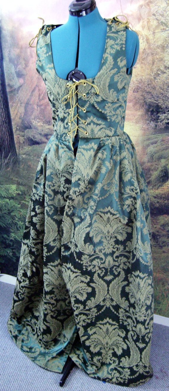 Green Brocade Medieval Irish Dress SIze 8 by Mordork on Etsy, $100.00