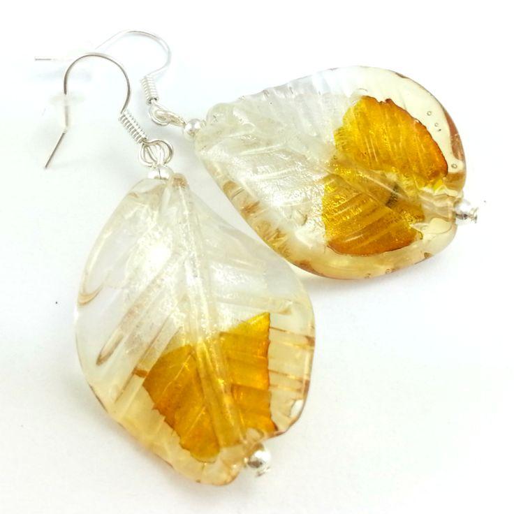 Kolczyki listki złoto białe szkło weneckie