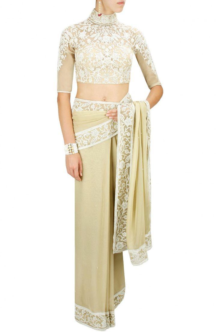 Beige pearls studded sari with matching embroidered blouse. By MALASA. Shop designer now at www.perniaspopups... #designer #indian #stylish #shopnow #perniaspopupshop #happyshopping