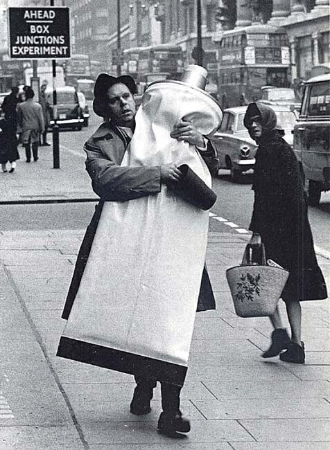 Claes Oldenburg with a monumental tube of toothpaste, London. 1966