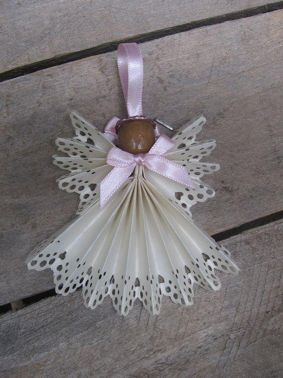 White Christmas Angel Tree Ornament White Angel di SnowNoseCrafts