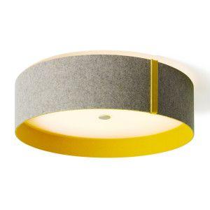 Plafonnier LED feutrine gris/curry DOMUS - Luminaires de tendance jaune et gris chez Luminaire.fr - Frais de port offerts à partir de 99€ d'achats.