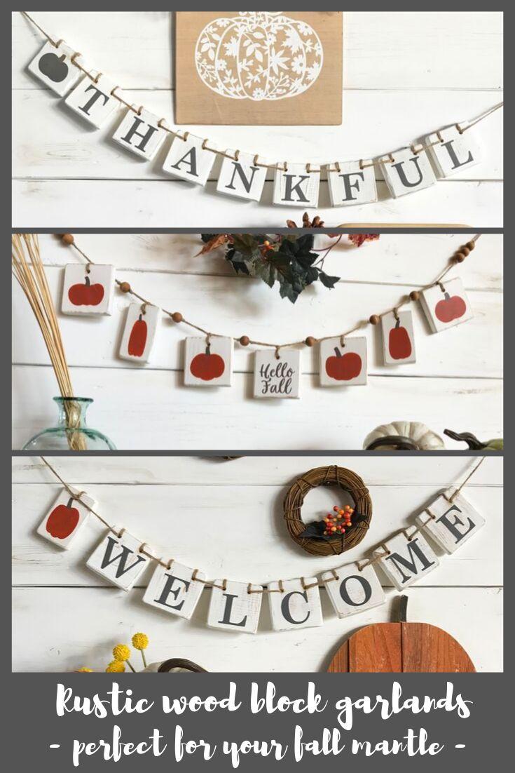 Rustic wood block garlands - Thankful, Hello Fall, Welcome