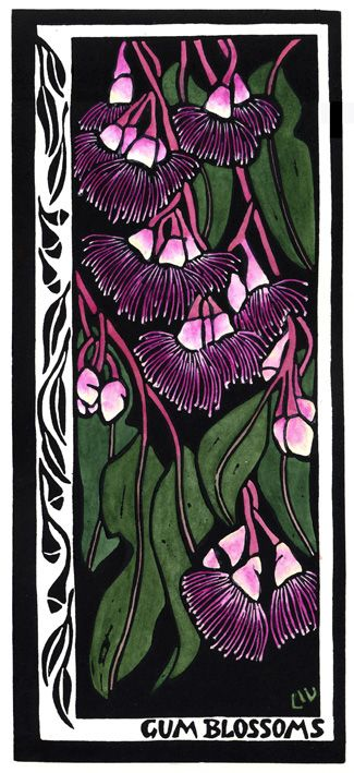 Gum Blossoms - Linocut (hand coloured) by Lynette Weir