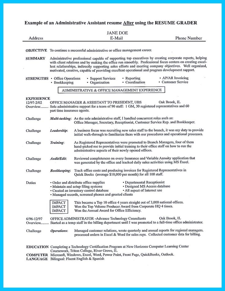 Best 25+ Administrative assistant resume ideas on Pinterest - example of objective