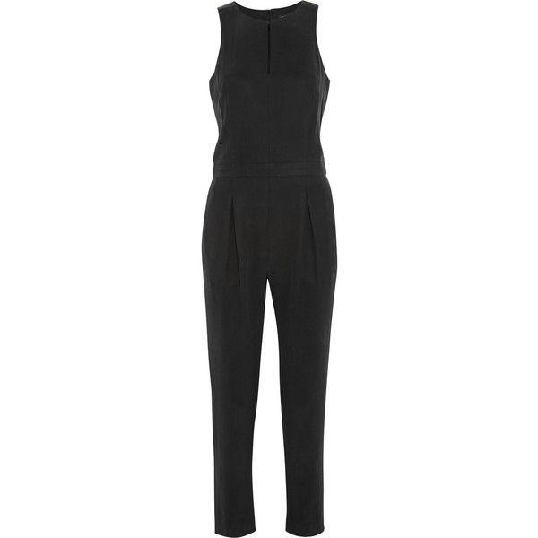 Rag & bone Adeline leather-trimmed silk jumpsuit ($268) ❤ liked on Polyvore featuring jumpsuits, dresses, playsuit, rag & bone, rompers, black, silk romper, pleated jumpsuit, drop crotch jumpsuit and playsuit jumpsuit