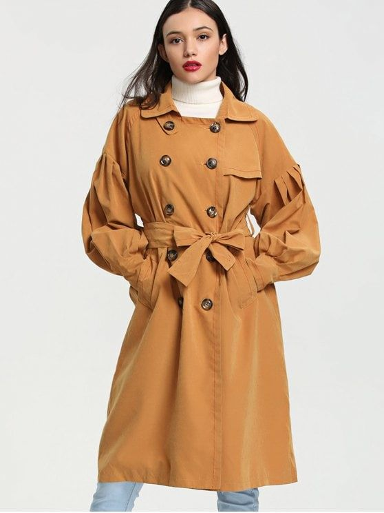 39386eae8f3a Lantern Sleeve Double Breasted Trench Coat