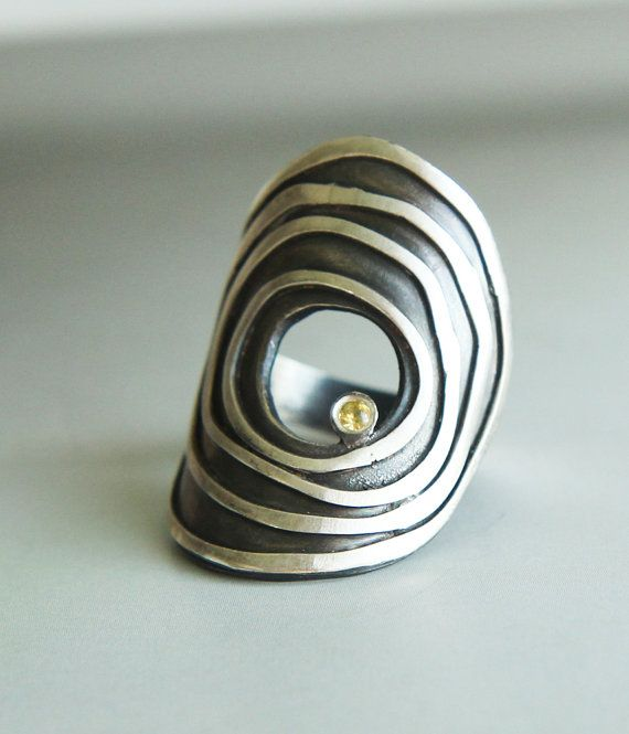 """large sculptural statment ring - modern art jewelry ring - """"orbiting asteroid"""" ring handmade by lolide on Etsy, € 117,96"""