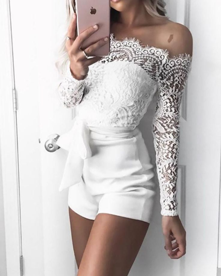 ivrose / Off Shoulder Eyelash Lace Patchwork Belted Romper