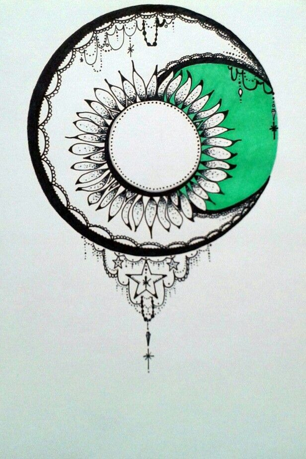 Moon and sun by Anna Szabo #mandala #moon #sun #doodle #zendoodle